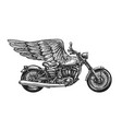 motorcycle and wings sketch vintage vector image