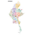 myanmar administrative map vector image vector image