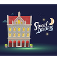 night house with red roof on dark blue sk vector image
