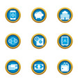paid service icons set flat style vector image vector image