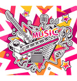 red and yellow set of musical instruments vector image