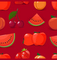 red seamless pattern with fruits vector image vector image