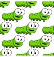 Seamless pattern of cartoon green caterpillars vector image vector image