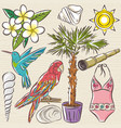 set of summer symbols swim suit parrot vector image