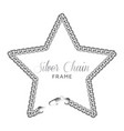 silver chain star border frame vector image vector image