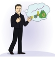 smiling businessman standing think vector image vector image