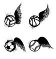 sport grunge balls wings vector image vector image