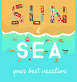 summer beach vacation flat poster vector image vector image