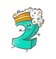 sweet cake number character two vector image vector image