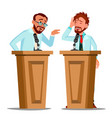 two talking doctor argue behind the tribune with vector image