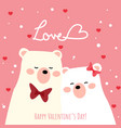 valentines day background with cute polar bear vector image vector image