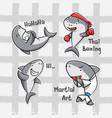 variety aquatic shark set vector image vector image