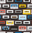 Vintage audio cassettes seamless background vector image