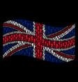 waving british flag collage of human footprints vector image vector image