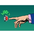 why button presses hand vector image vector image