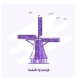 windmills of kinderdijk landmark purple dotted vector image
