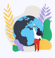 woman and planet social network and teamwork vector image