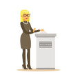 woman putting a ballot into a voting box casting vector image