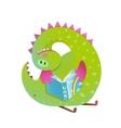 Baby dragon reading book study cute cartoon vector image