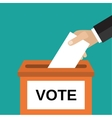 Human hand putting voting pape vector image