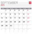 2015 September calendar page vector image
