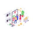 3d isometric young woman and man with mobile phone vector image vector image