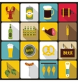 Beer icons set flat style vector image vector image