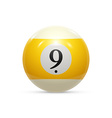 Billiard nine ball isolated on a white background vector image