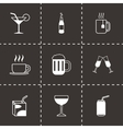 black beverages icons set vector image