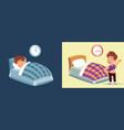 boy sleeping waking up happy child under vector image vector image