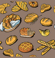 bread seamless pattern drawing bakery vector image