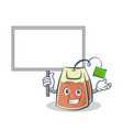 bring board tea bag character cartoon vector image vector image