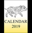 calendar cover 2019 year antistress coloring pig vector image