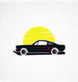 car sun retro vintage concept logo icon element vector image