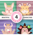 cartoon set animals rabbit giraffe cow hedgehog vector image