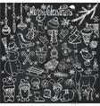 Christmas season doodle iconsanimalsChalkboard vector image vector image