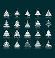 christmas tree white silhouette icons set vector image