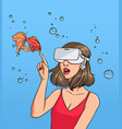 concept of virtual reality girl in 3d-glasses and vector image vector image