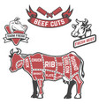 cow cuts butcher diagram design element for vector image vector image