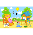 Cute children at the playground in spring vector image