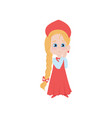 cute russian blonde girl in red dress with long vector image vector image