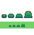 Evolution of pixel slimes from small to king slime vector image vector image