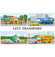 flat city transport composition vector image vector image