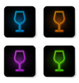 Glowing neon wine glass icon isolated on white