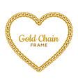 gold chain heart love border frame wreath shape vector image vector image