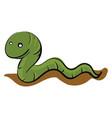green worm crawling on ground basic rgb on vector image