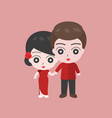 groom holding hand with bridge in chinese costume vector image vector image