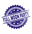 grunge textured full moon party stamp seal vector image
