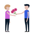 guy gives the girl flowers icon vector image