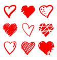 hand drawn hearts design elements for valentine s vector image vector image